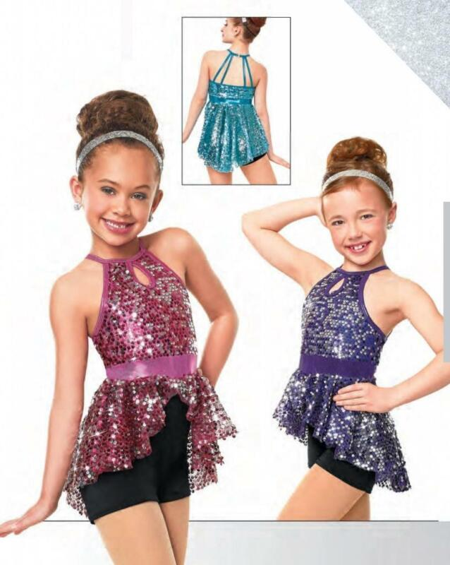 Dance Costume Small/Large Child Pink/Purple Sequin Jazz Solo Competition Pageant
