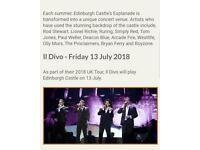 2 IL DIVO tickets Edinburgh Castle Friday 13 July