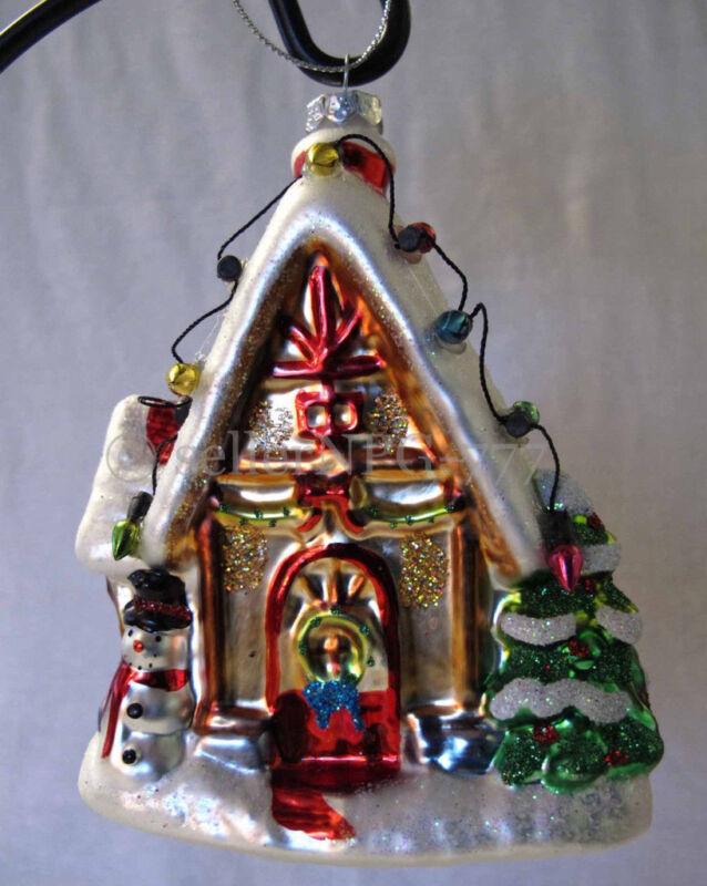 Gingerbread House Cottage w/Snowman/Tree/Lights Wreath Glass Christmas Ornament