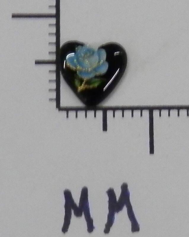70329     Porcelain - Blue Rose On A Black Heart Shape 7.5 mm - by dz SALE