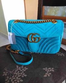 Gucci Marmont Velvet Blue Bag
