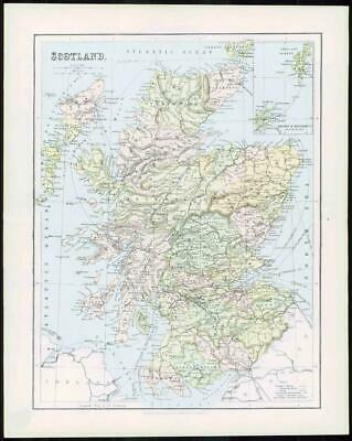 1903 Original Antique Colour Map - SCOTLAND ORKNEY SHETLAND ISLANDS (10)