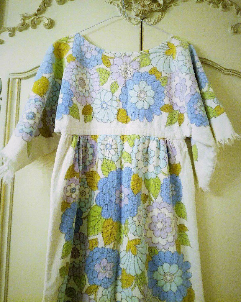 d4d3c17fc3 VINTAGE 1960 TERRY TOWELLING FLOWER POWER LONG BEACH DRESS Pink Blue White  MOD 100% Cotton Fringe
