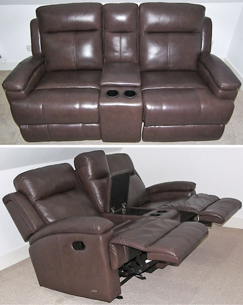 Leather 2 Seater Sofa Settee Double Manual Recliner Rocker  ~ Sofa Recliner With Console