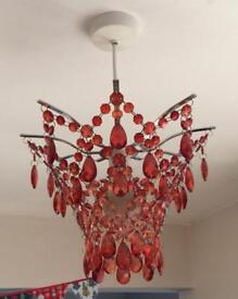 Next Red Glass Lampshades x2
