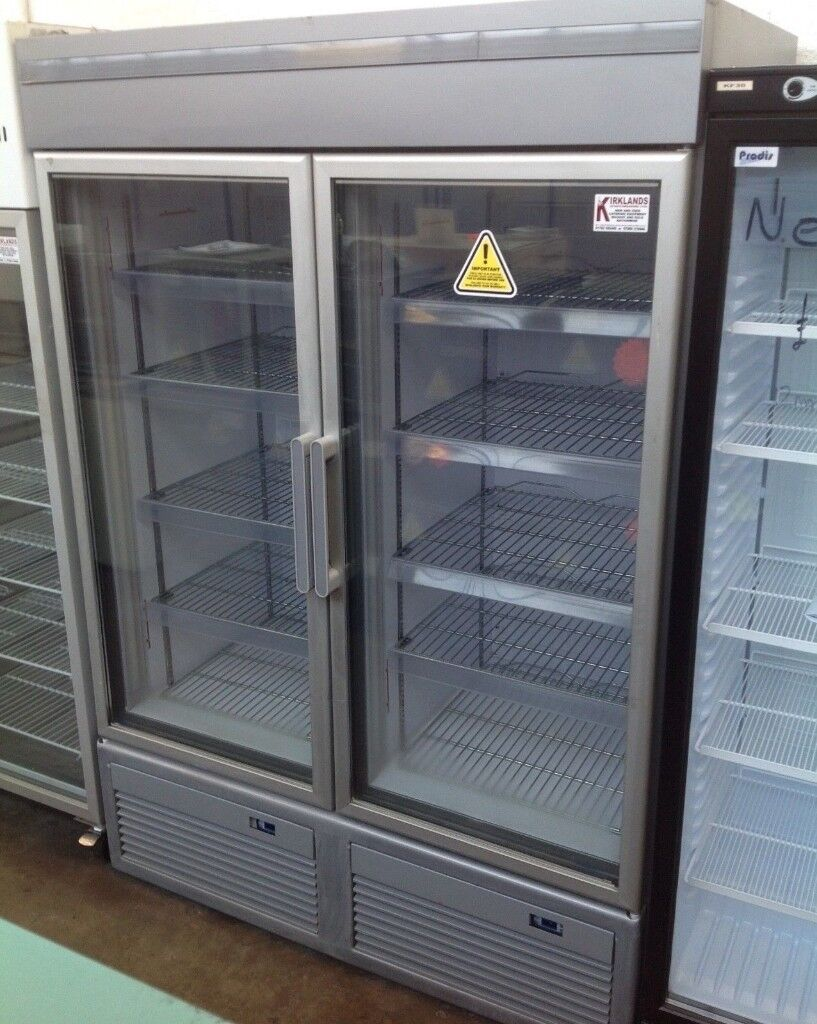 Upright Double Door Display Freezer 2 Glass Doors Lights ...