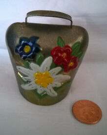 vintage brass painted cowbell
