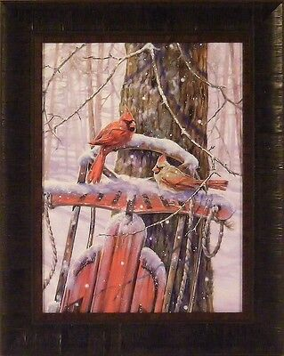 RED SLED WITH CARDINALS by Donna Race Birds Snow Winter 17x21 FRAMED PRINT ()