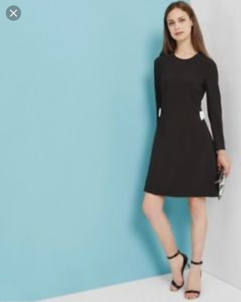 ca3b768b24e3 Ted Baker Black Skater Dress Size 4 UK 14 New With Tags