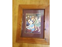 5 x Beryl cook pictures in pine frames