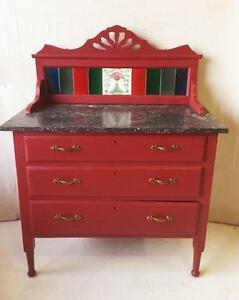 Deep Red Antique Washstand With Black Marble Top, Dovetail Construction And Drawers