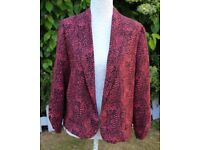 New look blazer jacket red and black animal print UK14