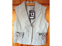 ** NEW ** and un-worn George natural coloured sleeveless jacket/waistcoat. Size 12. (Was £12 new).