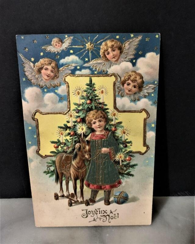 Antique French Christmas Postcard - Angels, Tree/Toys - Gold Gilding