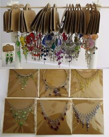Jewellery (costume) 16 earrings, 6 necklaces. All pre packaged for dispaly