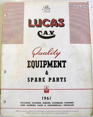 Lucas HILLMAN HUMBER SINGER etc Electrics Equipment & Spare Parts 1961 CCE 901K