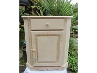 Lovely Shabby Chic Look Solid Pine Corner Cupboard.