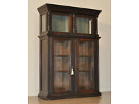 Lovely Antique Victorian Carved Oak Bookcase Cupboard With Top Display Cabinet