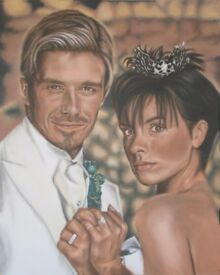 Original Painting of DAVID BECKHAM AND VICTORIA'S WEDDING