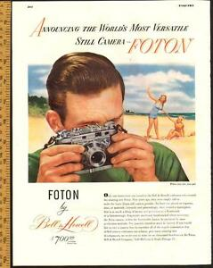 1948 full-page magazine ad for Bell & Howell Foton Camera