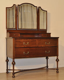 Attractive Antique Edwardian Inlaid Mahogany Triple Mirror Dressing Table Chest