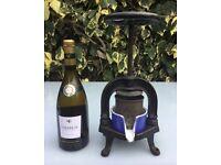 ANTIQUE FRENCH CAST IRON FRUIT PRESS + BLUE ENAMEL DISH, GRAPE PRESS, OLIVE PRESS, DUCK PRESS 1900s