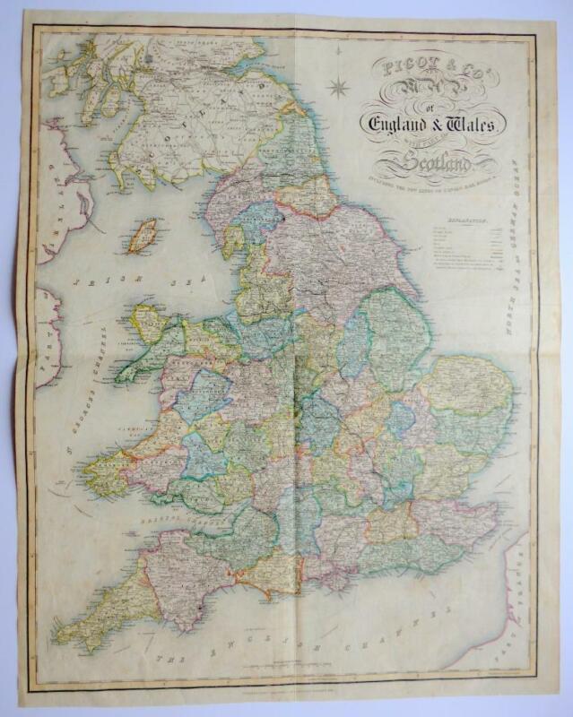 ENGLAND BY JAMES PIGOT c1840 VERY LARGE GENUINE ANTIQUE MAP ORIGINAL HAND COLOUR