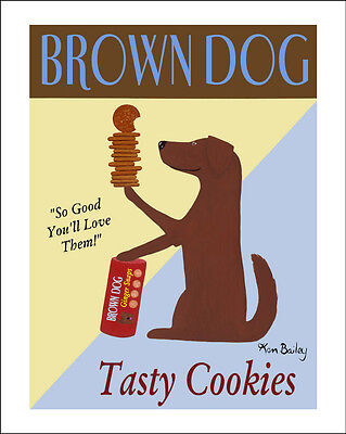 LABRADOR RETRIEVER CHOCOLATE DOG ART PRINT RETRO ADVERTISING POSTER - Cookies