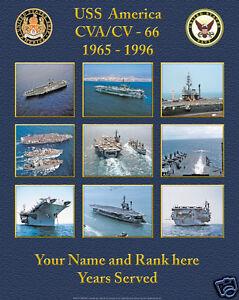 USS AMERICA CVA/CV-66 PERSONALIZED SHIP COLOR POSTER GREAT GIFT IDEA