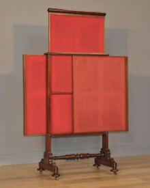 Attractive Large Antique Victorian Mahogany 3 Section Pull Out Fire Screen