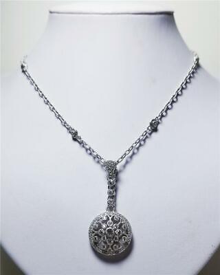 "Judith Ripka Sterling Diamonique Drop Pendant Necklace w/Box 18"""