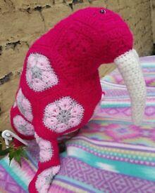 Hand crocheted walrus