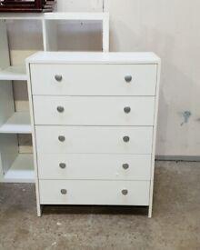 Seville 5 Drawer Chest - White No080304