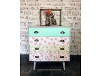 Sold. Mid century retro vintage chest of drawers hand painted and decoupaged