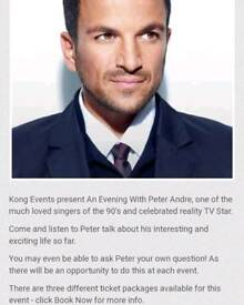 Peter Andre VIP tickets