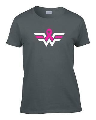 Ladies Wonder Woman Breast Cancer Pink Ribbon Awareness T-Shirt Women's - Wonder Woman Tee Shirt