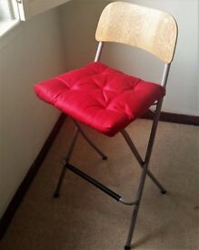 2 Bar Stools (cafe chairs) - Foldable, Great Condition, Birch, Red Cushions Included!