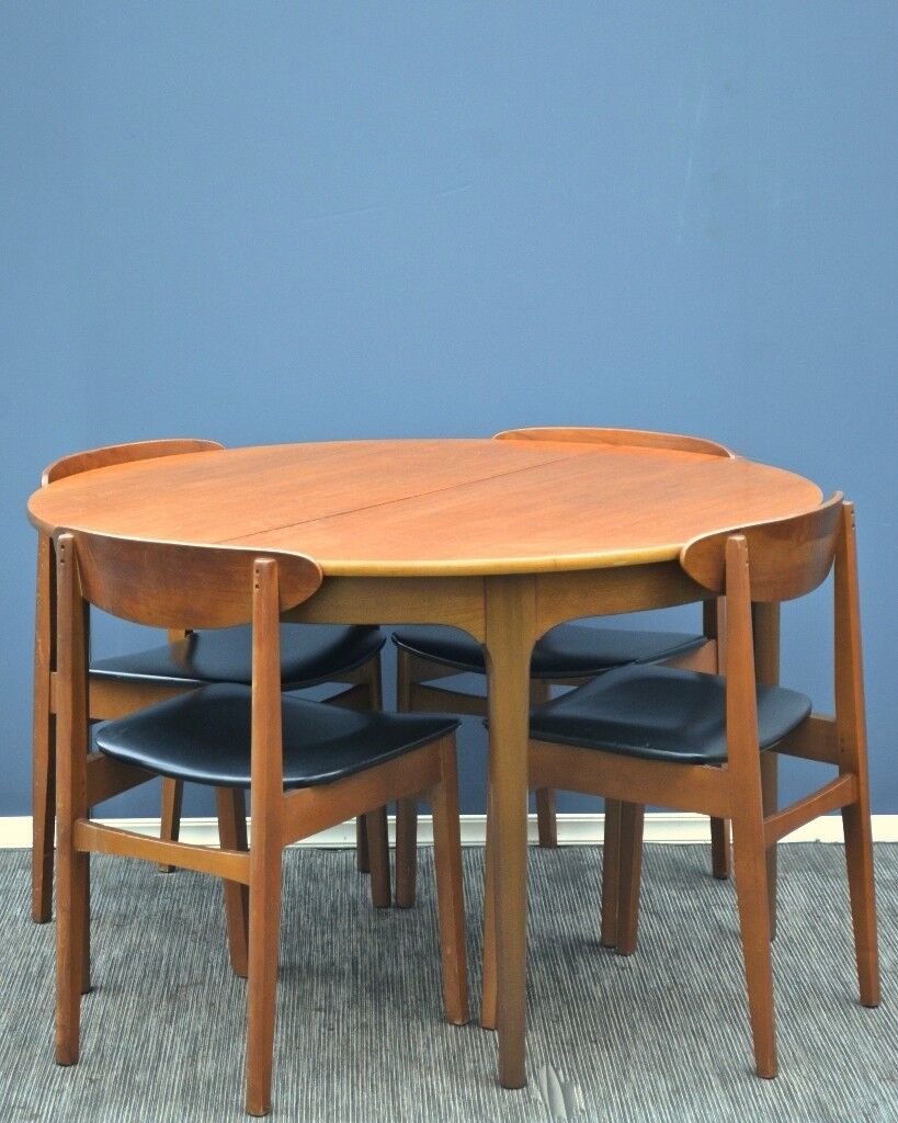 Vintage \'Nathan\' Danish style extending round teak table and chairs ...
