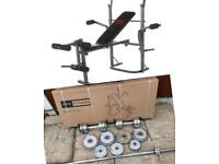 BrandNew Bench with 57kg Chrome Weights Set. Can Deliver