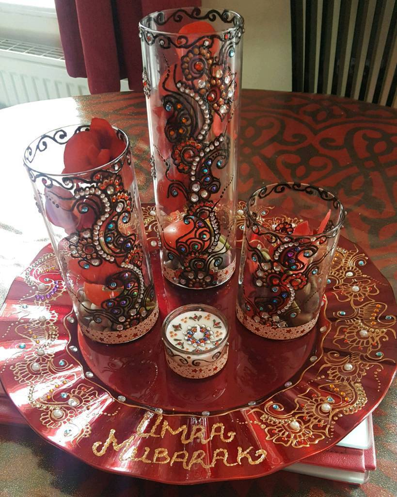 Henna designed candle set for gifts