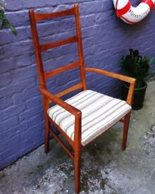 Vintage 1960s teak Danish Ladder back chair armchair mid century retro
