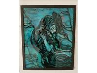 The shape of water painting on glass by Neil Inglis