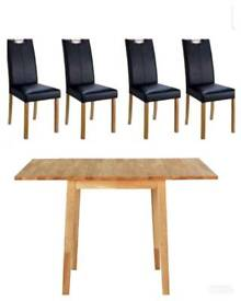 Kendall large drop leaf table with 4 leather Midback Chairs (brand new and boxed)