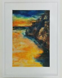 Original mixed media on canvas. Porthcapel cornwall.