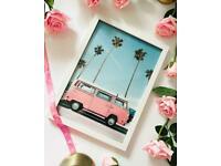 A4 white frame pink vw van print