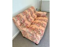VICTORIAN 3 SEAT SOFA, PROFESSIONALLY UPHOLSTERED IN FLORAL MONKWELL FABRIC