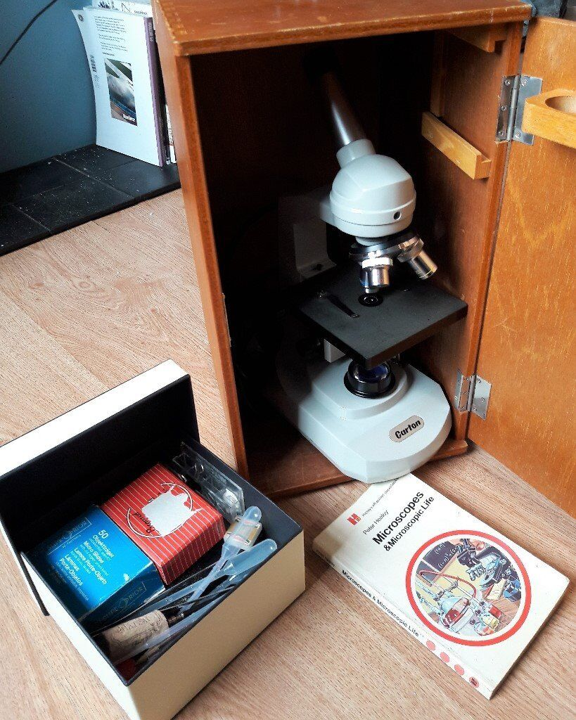 Carton Optical Biological Microscope, Slides, Hardcase, Book and Accessories