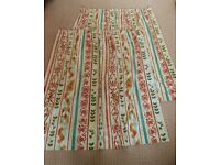 "Bespoke Handmade Fully Lined orange green cream and brown Patterned Curtains 54"" Drop"