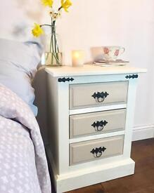 New White and Tan Bedside chest of drawers
