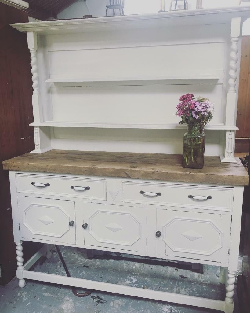 Beautiful Victorian Country Dresser with Reclaimed wooden top ...